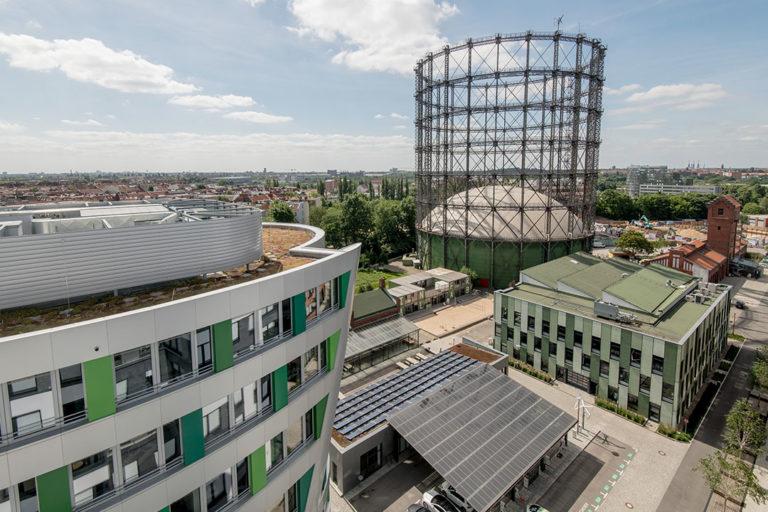 Das Gasometer des Zukunftsortes EUREF-Campus in Berlin-Schöneberg
