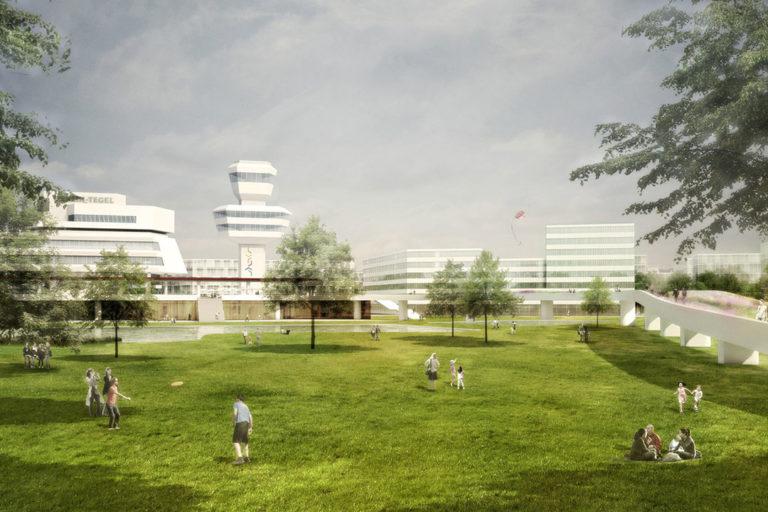 Zukunftsort Berlin TXL: Visualisierung des zukünftigen Außenbereichs mit dem Tower und Grünflächen