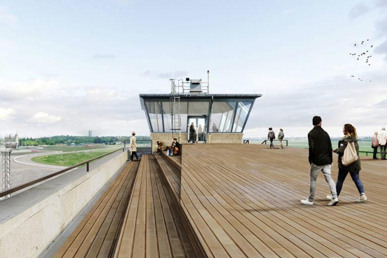 Zukunftsort Tempelhof: Visualisierung Flughafen Tempelhof Berlin I Dachterasse